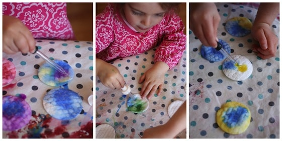 colouring cotton pads with liquid watercolours