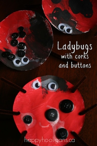 Paper Plate Ladybug Craft for Toddlers (with Corks and Buttons)
