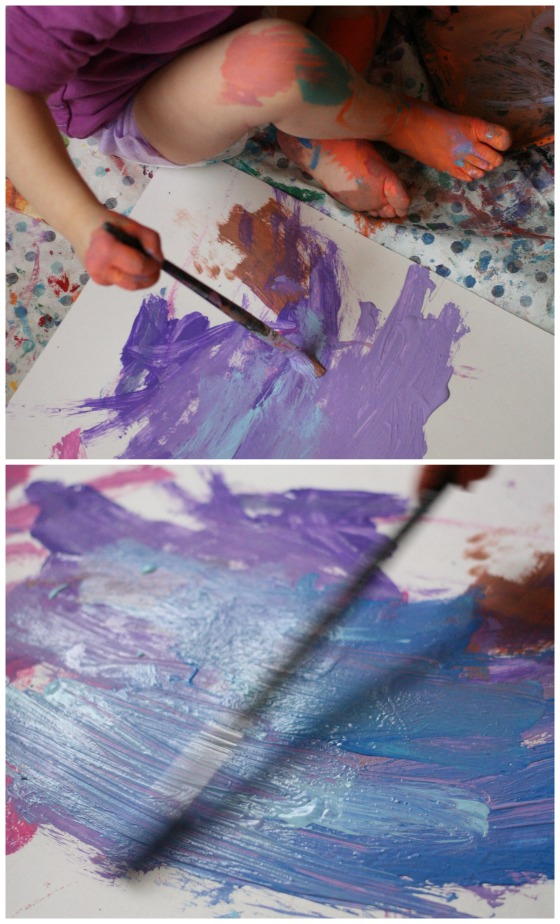 toddler painting big art