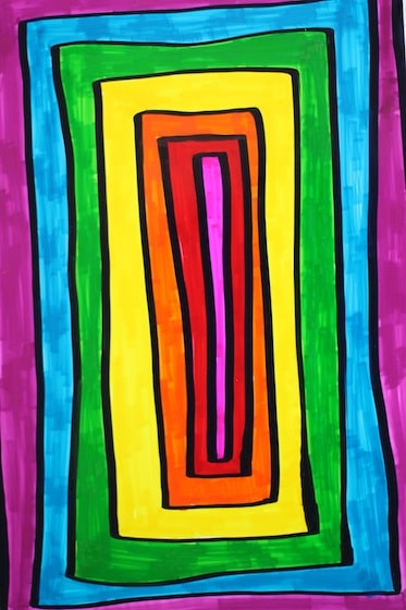 Rainbow coloured rectangles - graphic Sharpie ARt