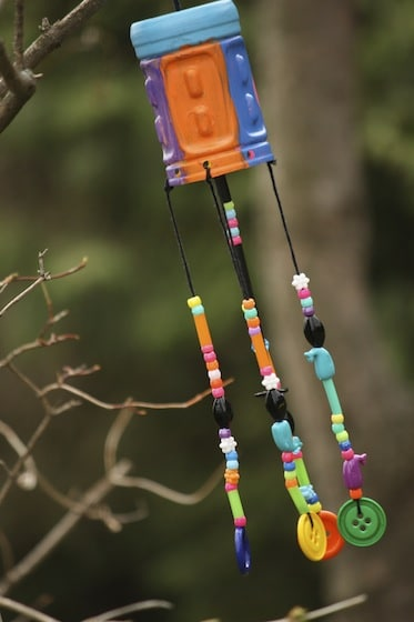 homemade wind chimes for mother's day - hanging in a tree