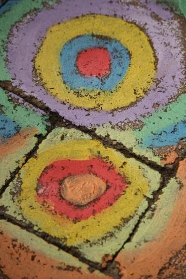 wet sidewalk chalk art on patio stones