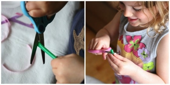 Cutting practice with drinking straws