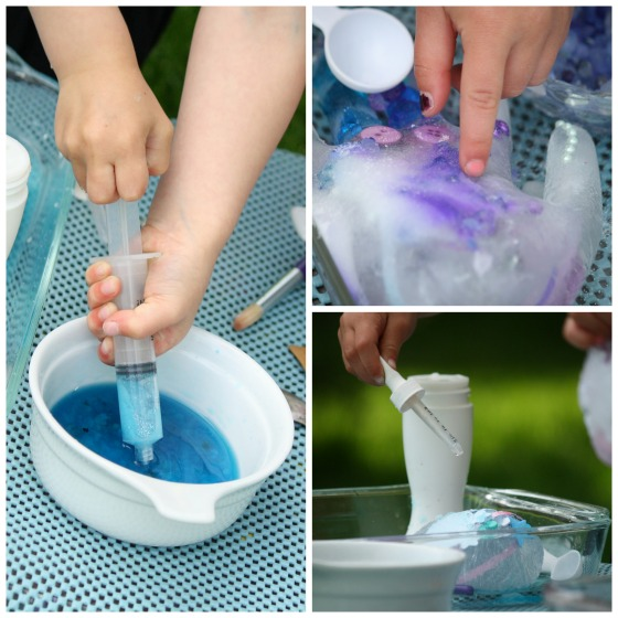 kids melting ice with salt water