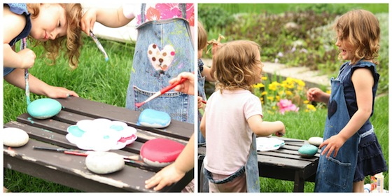 kids painting rocks