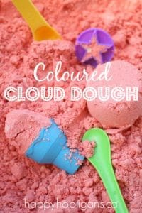 red coloured cloud dough