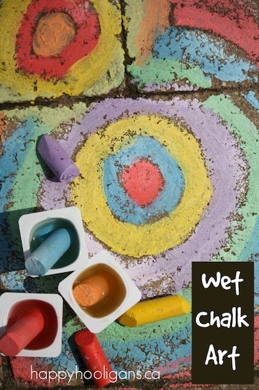 Wet Sidewalk Chalk Activity for Kids