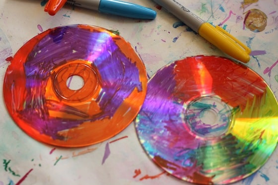 CDs coloured with Sharpies