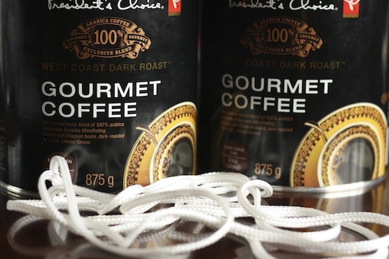 coffee tins and rope