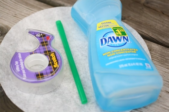 dawn dish detergent, drinking straw, coffee filter, tape
