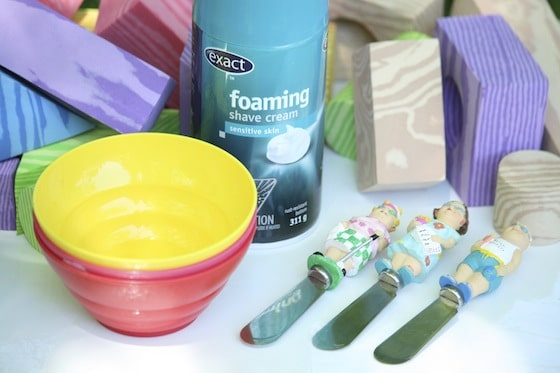 foam blocks, shaving cream, bowls, pate spreaders