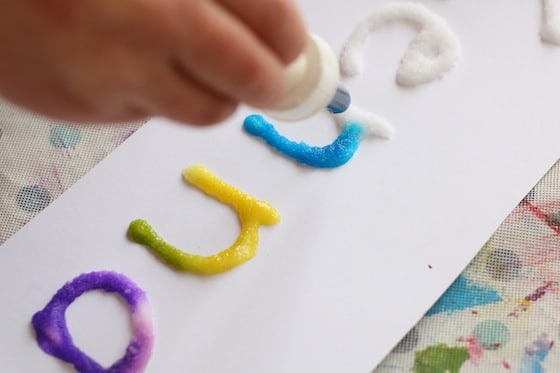 salt glue and watercolour experiment