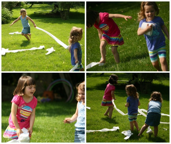 throwing toilet paper around the yard