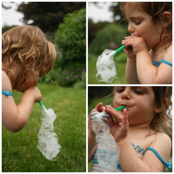 blowing bubbles through a straw and coffee filter