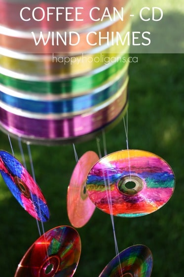 coffee can cd with CDs hanging for Father's Day Wind Chime