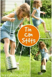 homemade tin can stilts