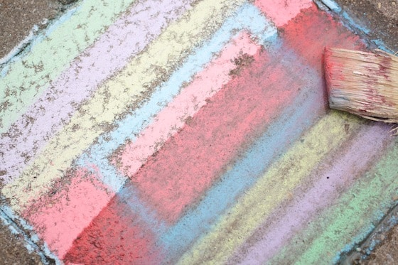 Wet sidewalk chalk painting