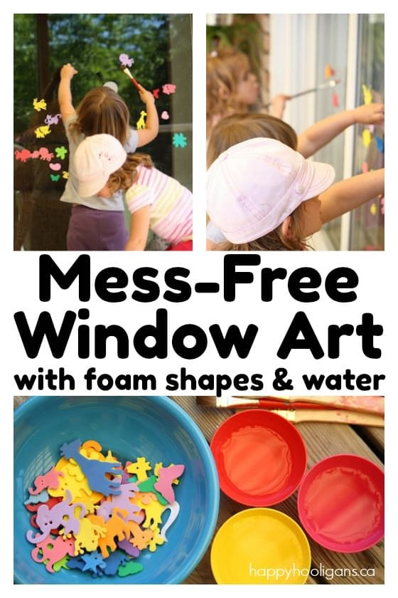 Window Art with Foam Shapes and Water