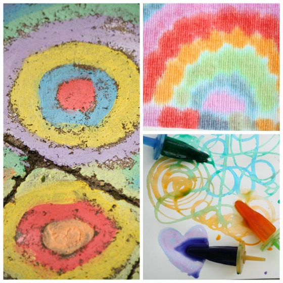 chalk art, ice art and drip art for toddlers