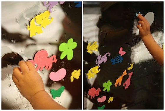 painting with water on glass doors