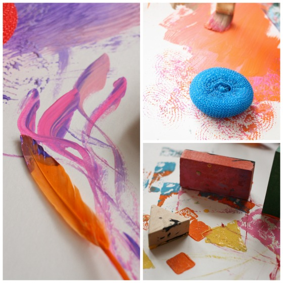 painting with feathers, sponges and blocks