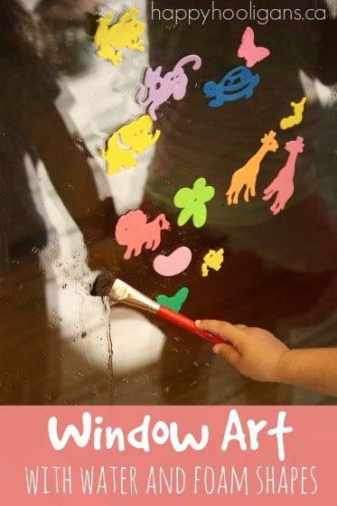 window art with water and foam shapes