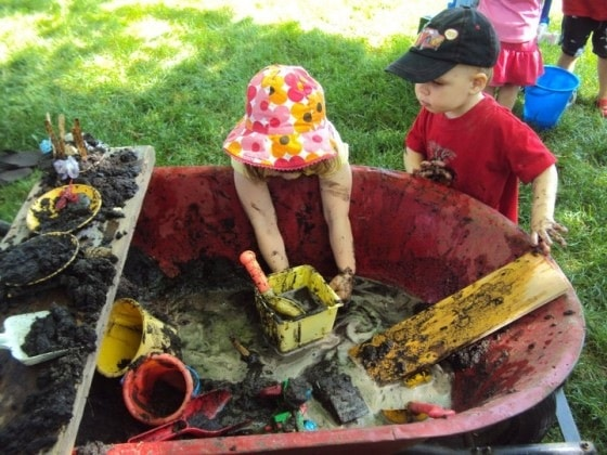 mud pit in a wheelbarrow