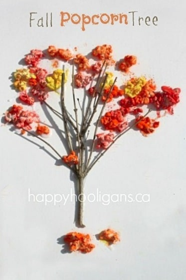 fall tree craft made with coloured popcorn