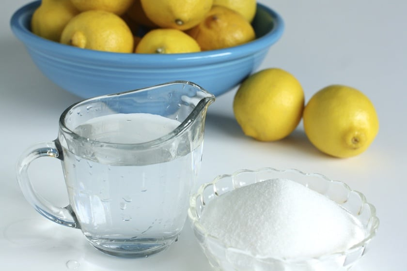 lemons, sugar and water for homemade lemonade