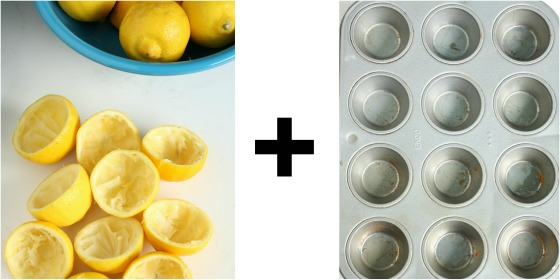 lemon rinds and mini muffin tin