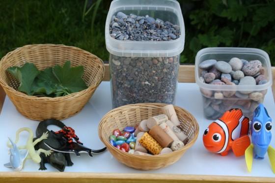 supplies for ocean water bin activity