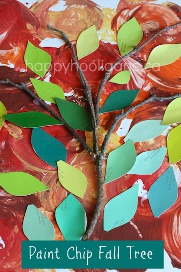 fall tree crafts made with bark and paint chip cards