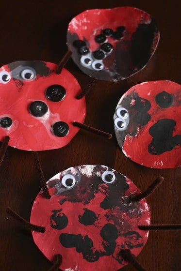 paper plate lady bugs stamped with corks