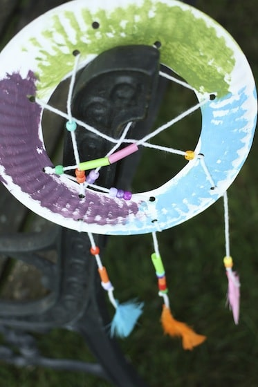 finished paper plate dream catcher