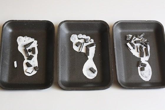 skeleton footprint craft for kids