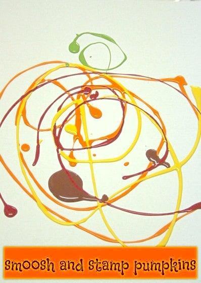 smoosh painted pumpkin art
