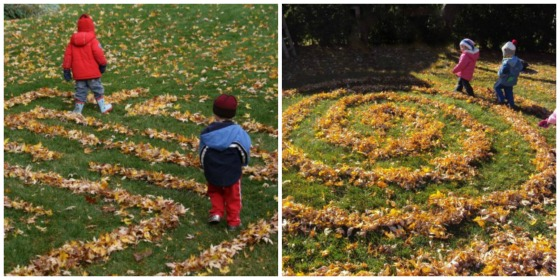backyard leaf maze and labyrinth activities