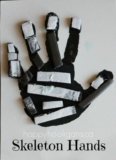 skeleton hand print art for halloween - Preschool Halloween Art Projects