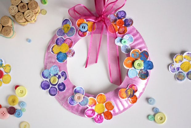 cork stamped paper plate wreath
