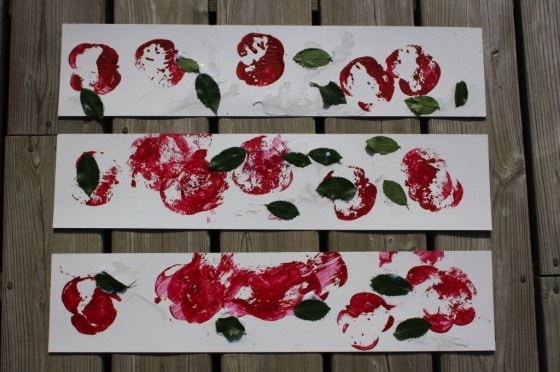 apple prints with apples and real leaves