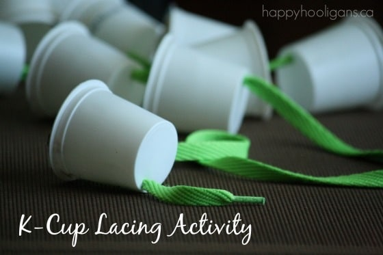 k-cup lacing activity with shoelaces