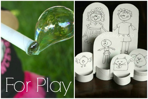 Bubble blower and paper dolls made with toilet roll tubes