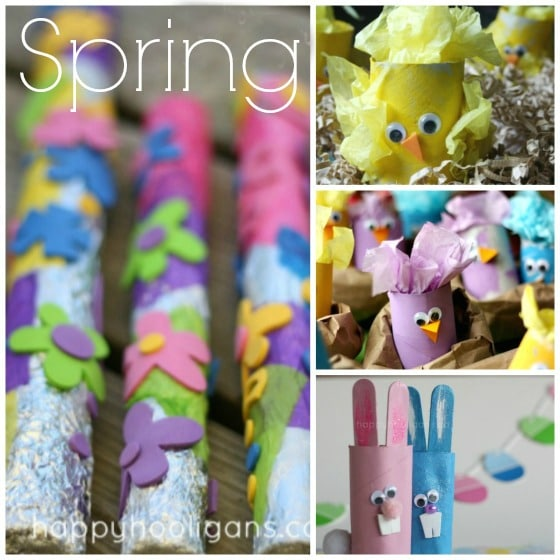Spring Crafts with cardboard rolls