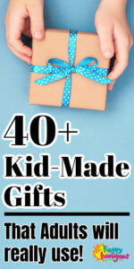 Child's hands holding gift wrapped in brown paper