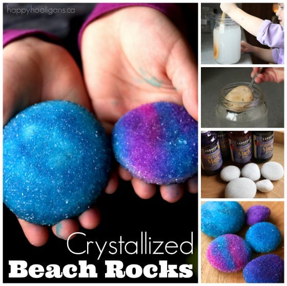 Crystallized beach rocks with borax and liquid watercolours