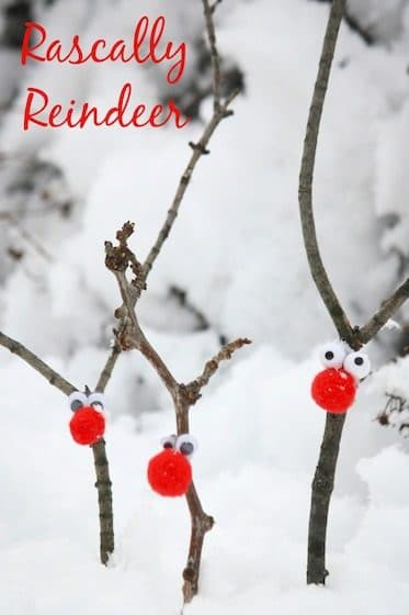 3 stick reindeer with red pom pom noses stuck into the snow