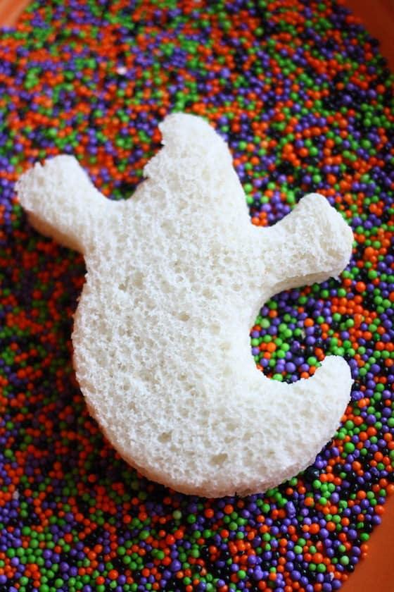 Making Halloween Fairy Bread