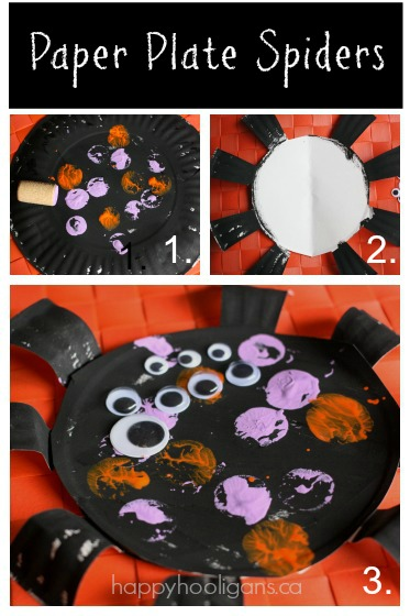 Paper Plate Spider Craft for Halloween
