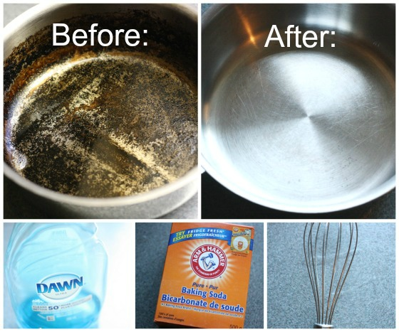 how to clean a burned pot or pan