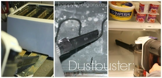 dustbuster to clean toaster tray oven and fridge